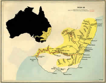 Map showing further inland exploration of the east coast of Australia made between 1828 and 1830
