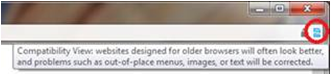 broken image / compatability view icon in internet explorer address bar